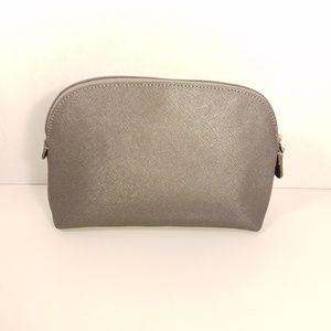 Coach Bags - Coach Silver Crosshatch Cosmetics Case Clutch